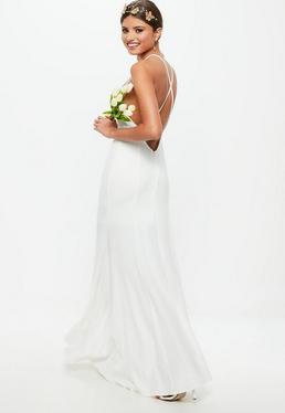Ślubna biała sukienka z kwadratowym dekoltem i krzyżowanymi ramiączkami na plecach