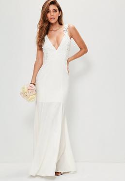 Ślubna biała sukienka maxi z koronkowym topem