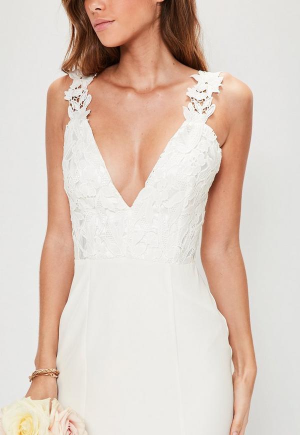 Bridal White Lace Criss Cross Bodice Maxi Dress Missguided