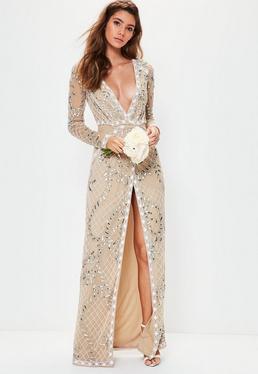 Ślubna beżowa zdobiona sukienka maxi z głębokim dekoltem i długimi rękawami