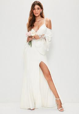 Bridal White Cold Shoulder Lace Detail Maxi Dress