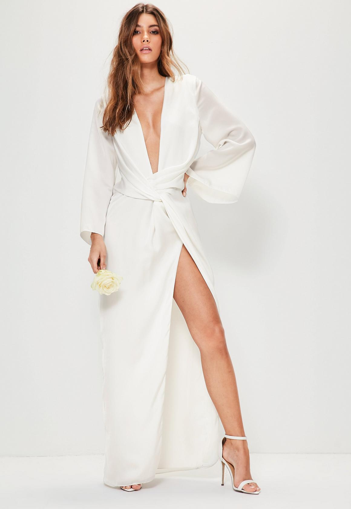 Bridal White Kimono Sleeve Twist Front Maxi Dress | Missguided