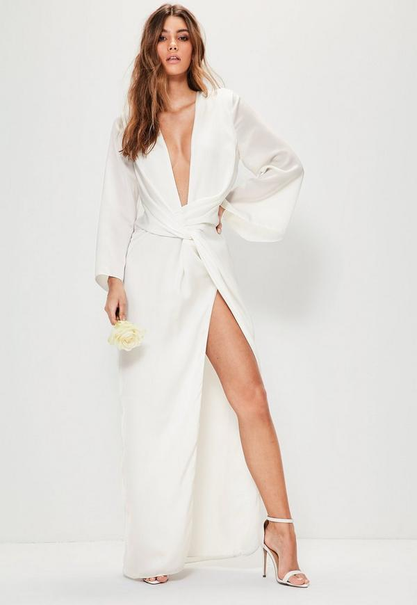 Bridal White Kimono Sleeve Twist Front Maxi Dress