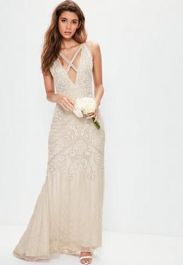 Bridal Nude Strappy Front Embellished Maxi Dress