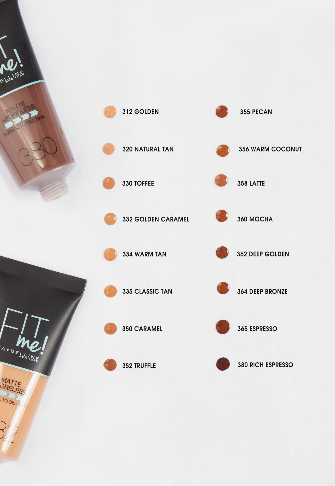 Missguided Maybelline Fit Me Matte Poreless Foundation 350 Caramel 30ml Brown 3