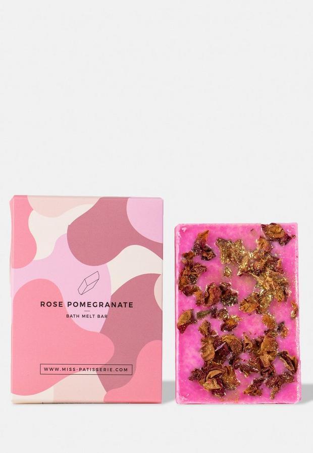 miss patisserie rose pomegranate bath melt bar