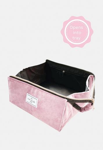 The Flat Lay Pink Velvet Makeup Box Bag