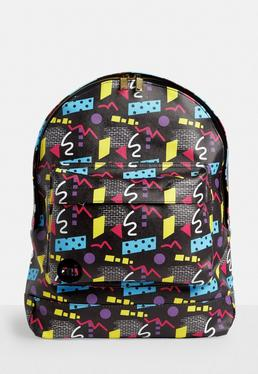 Mi pac Black 80s Abstract Printed Backpack