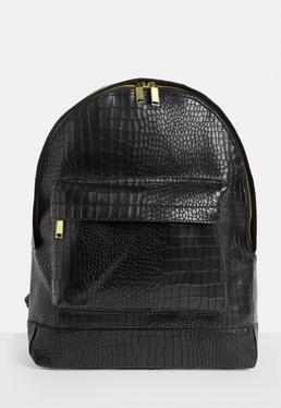 Mipac Black Matt Faux Croc Backpack
