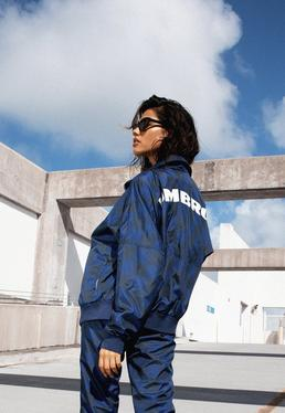 Umbro x Missguided Granatowa owersajzowa zapinana bluza