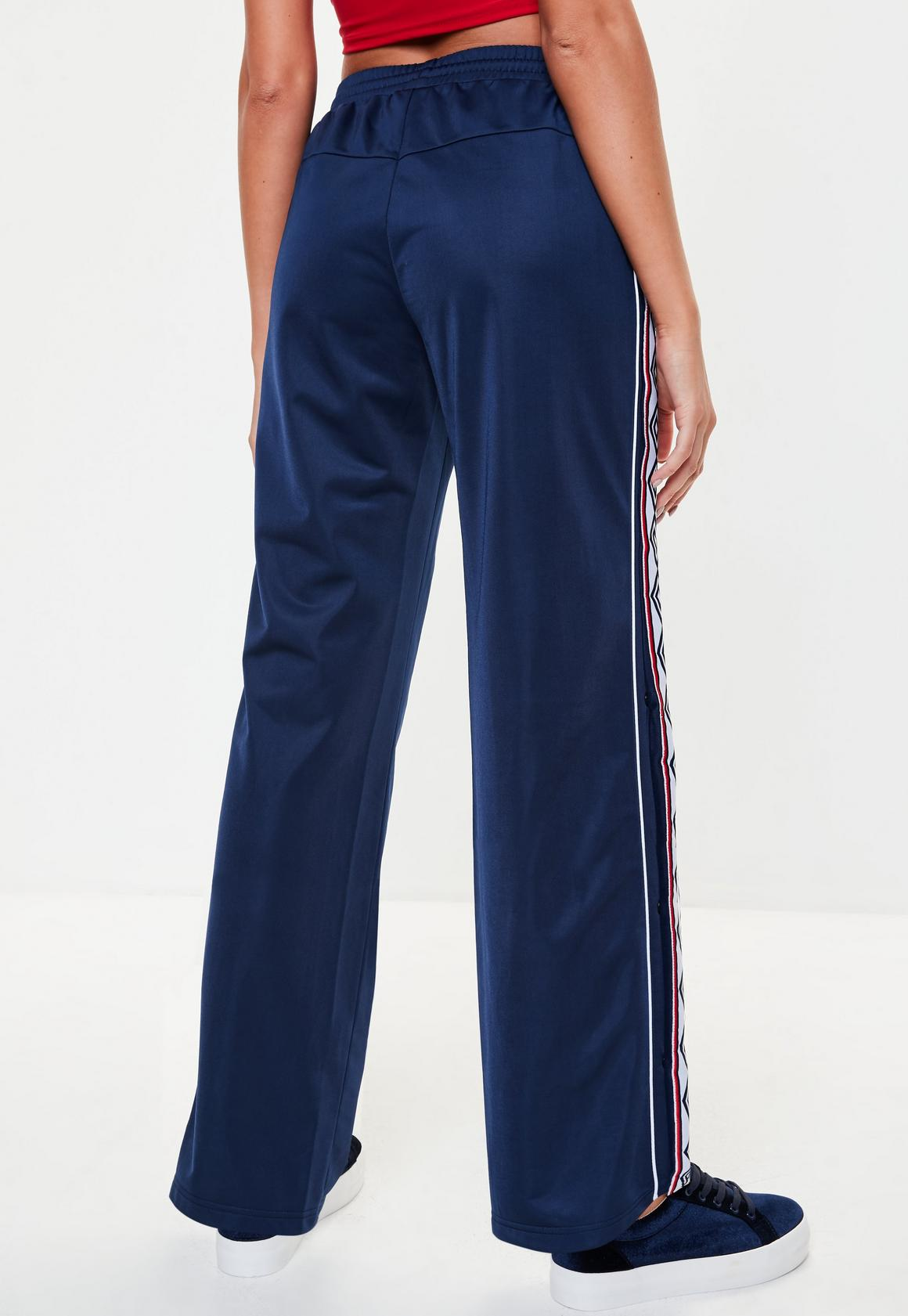 758bf994f9 Missguided - Umbro x Missguided Navy Tape Leg Tricot Track Pant