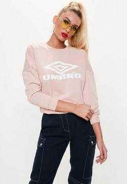 Umbro x Missguided Pink Drop Shoulder Batwing Jumper