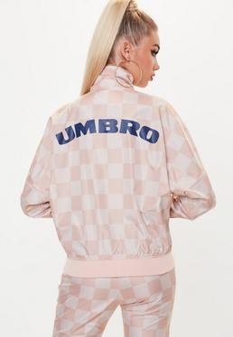 Umbro x Missguided Chaqueta de chándal oversize con manga batwing en rosa