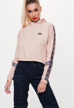 Umbro x Missguided Różowa krótka bluza z kapturem