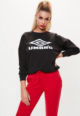 Umbro x Missguided Black Off Shoulder Batwing Sweatshirt