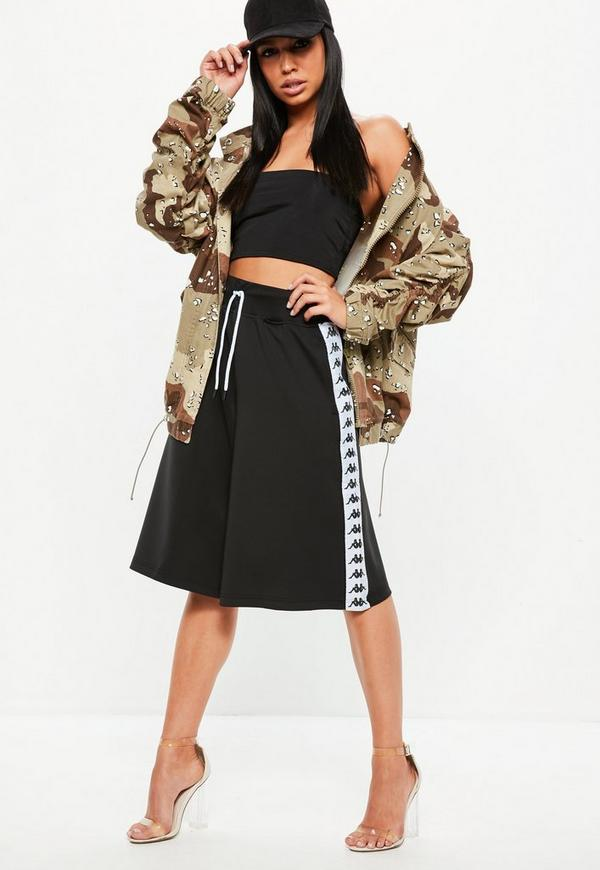 Kappa Black Authentic Anah Culottes by Missguided