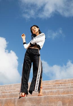 Kappa Czarne spodnie Austoria Snaps Slim