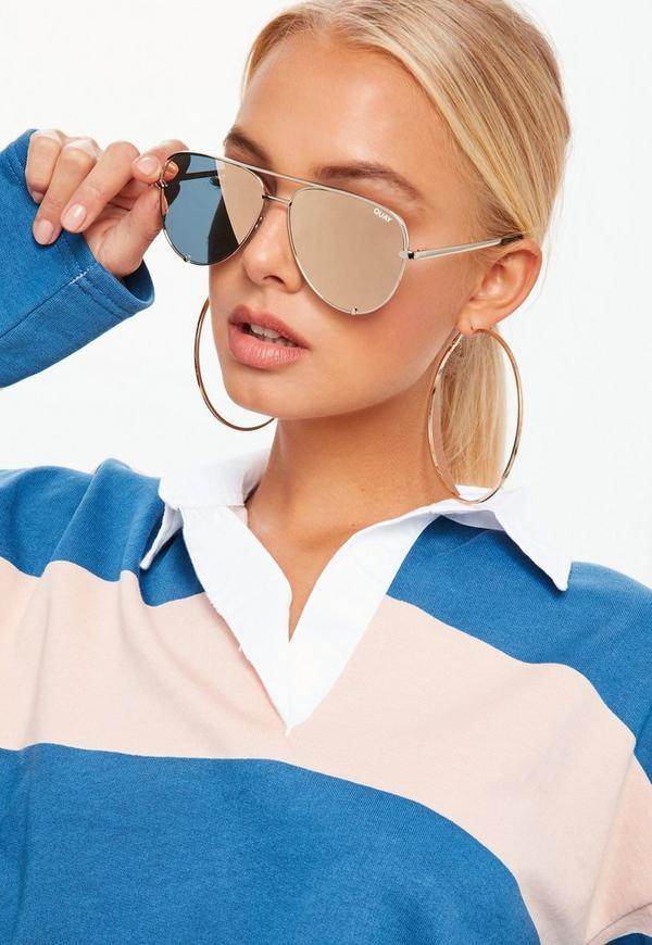 87404919bb Quay Australia Gold High Key Mini Sunglasses