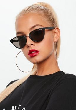 7d11f31a31b Black Half Frame Sunglasses  Quay Australia Black Rumours Sunglasses