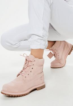 Timberland Botas premium 6 inch de ante en rosa
