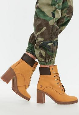 Timberland Wheat Nubuck Allington 6 Inch Lace Up Boots