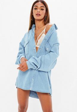 Mennace Camisa vaquera oversize en azul