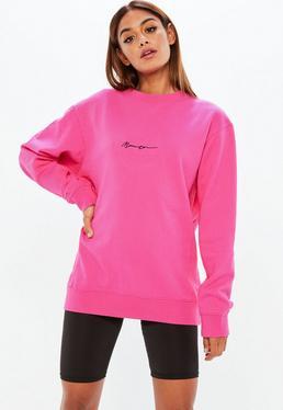 Mennace Sudadera con firma bordada en rosa