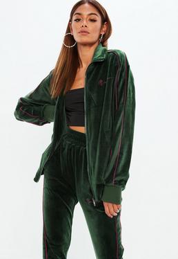 Mennace x Missguided Green Velour Track Zip Through Jacket