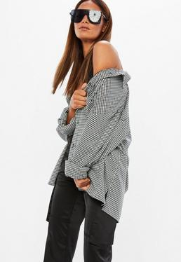 Mennace Camisa de manga larga a cuadros vichy en gris