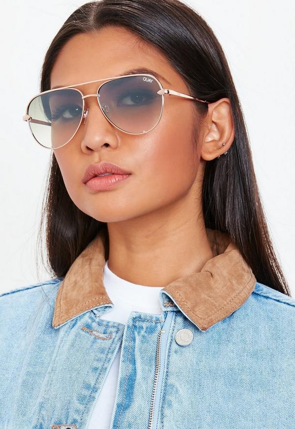 ce4e6a6cc1a Quay Australia High Key Rose Gold Mini Sunglasses