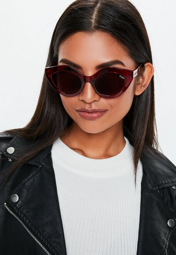 03b85810a00 Quay Australia Good Night Kiss Burgundy Sunglasses