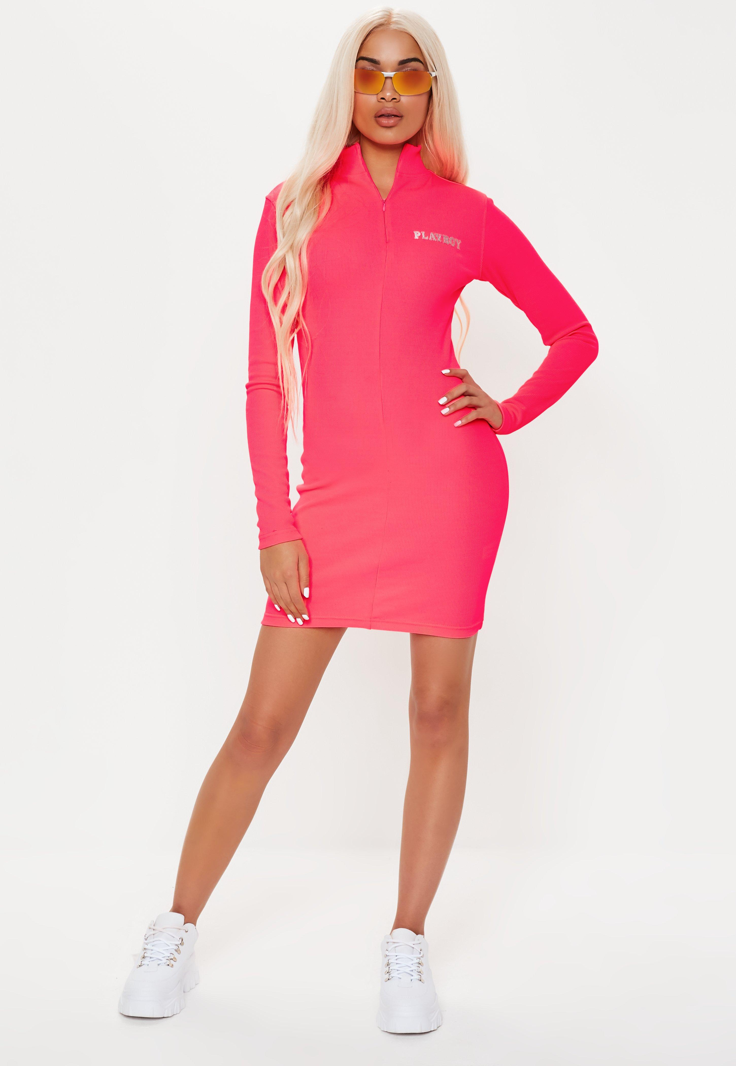 1af34dd905 Playboy X Missguided Pink Zip Front Ribbed Long Sleeve Mini Dress ...