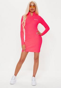 9fc3c26f364 ... Playboy X Missguided Pink Zip Front Ribbed Long Sleeve Mini Dress