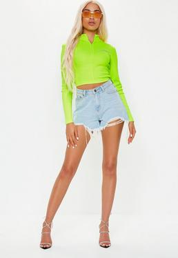 b145d6bb0f9 ... Playboy X Missguided Lime Ribbed Crop Top