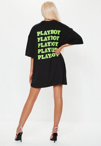 ea2767ab7fbf Playboy x Missguided Black Extreme Oversized Repeat Slogan T Shirt Dress