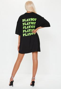 bdabe8e01db Playboy x Missguided Black Oversized Repeat Slogan T Shirt Dress