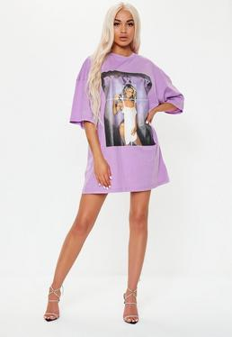 8790dce14a1 ... Playboy x Missguided Purple Oversized Magazine Front T Shirt Dress