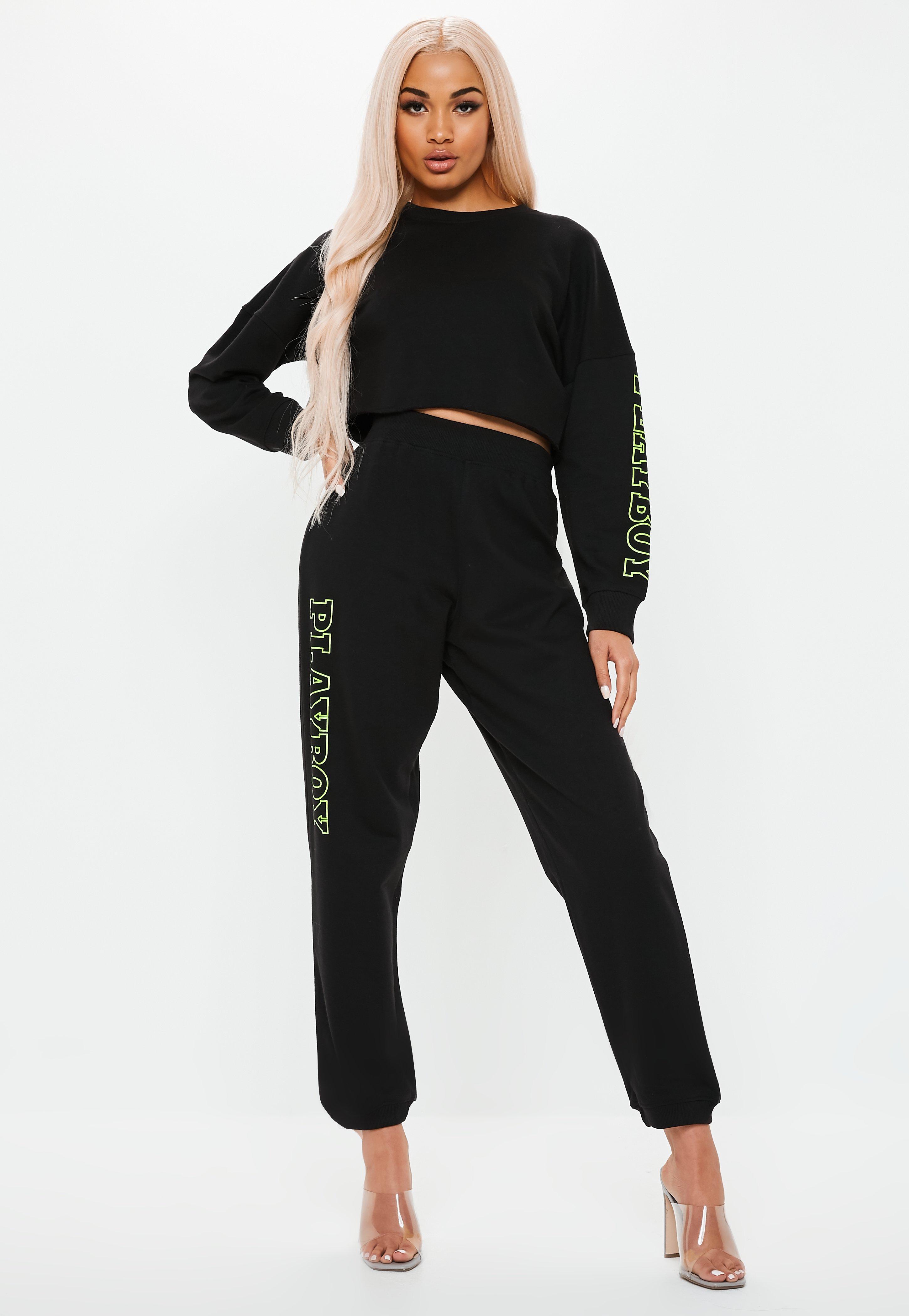 Missguided Sweatshirt Playboy Slogan Cropped X Black Sleeve srtdCQh