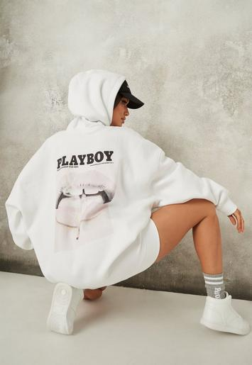 Playboy X Missguided White Magazine Print Oversized Hoodie