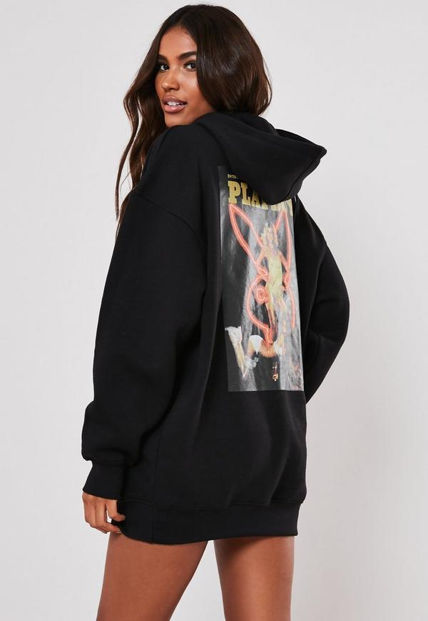 Playboy X Missguided Black Oversized Girls Print Hoodie