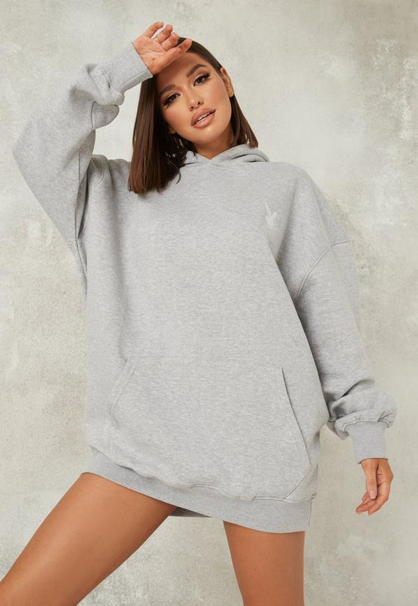 Playboy X Missguided Gray Bunny Print Hoodie Dress