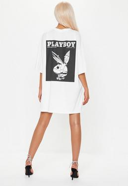 710d1d0f0fe85 ... Playboy x Missguided White Oversized Bunny T Shirt Dress