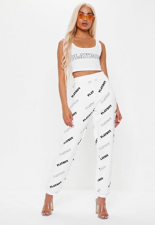 Playboy X Missguided White Repeat Print Joggers Missguided