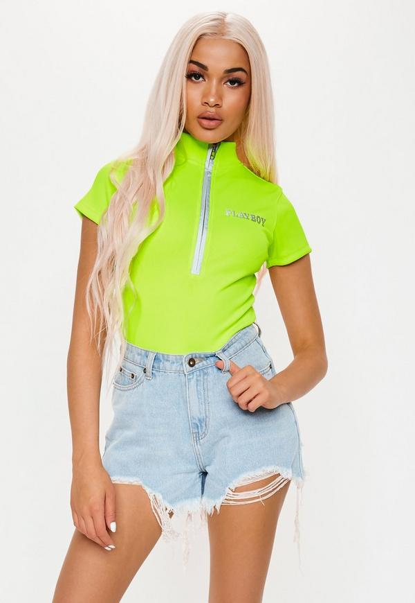 2e1feb3ece49b Playboy X Missguided Lime Slogan Zip Front Ribbed Bodysuit