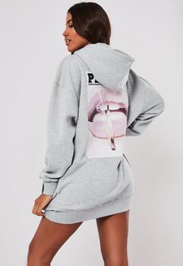 387326cad Playboy X Missguided Black Magazine Print Oversized Hoodie Dress; Playboy X  Missguided Gray Oversized Lip Print Hoodie Dress