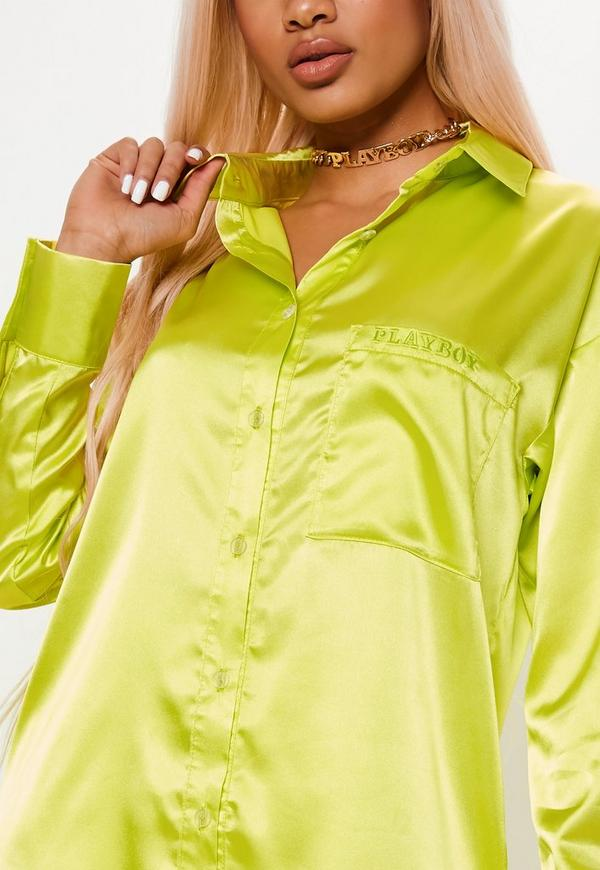 Playboy X Missguided Lime Oversized Shirt by Missguided