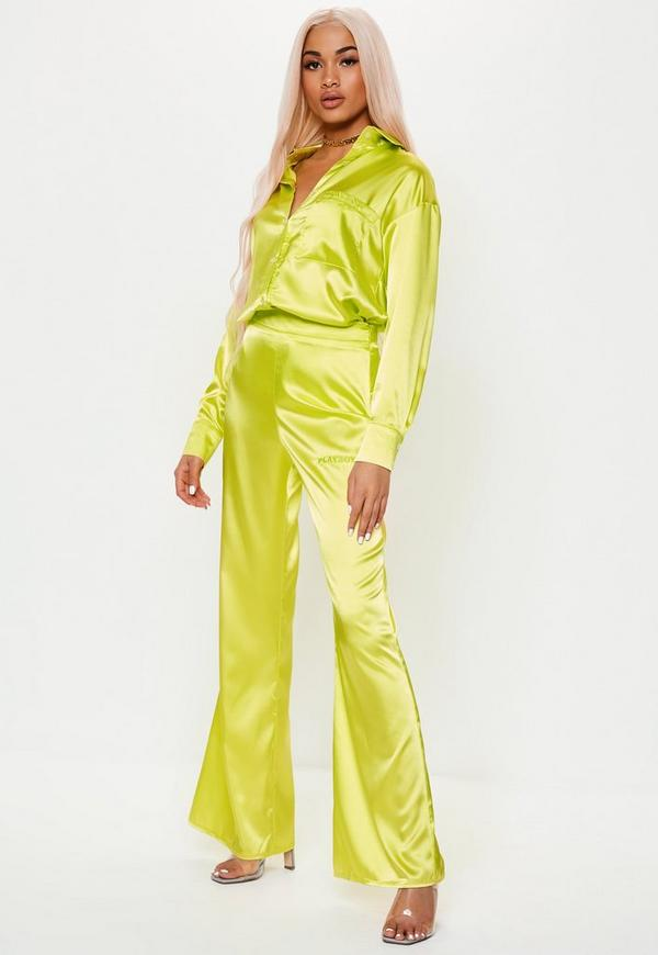 Playboy X Missguided Lime Wide Leg Trousers by Missguided