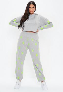 ... Jogging gris logos fluos playboy x missguided Grandes Tailles a2ec2f6e08d