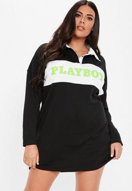 41596c3d81edd ... Playboy X Missguided Plus Size Black Slogan Rugby Dress
