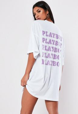 f131e97d6bd14 ... Playboy X Missguided White Repeat Back Slogan T Shirt Dress
